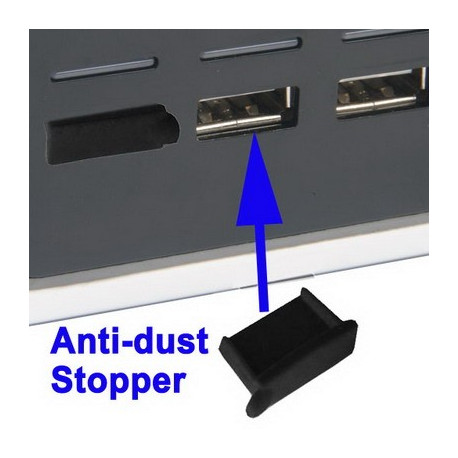 Anti-støv Stopper the Allé USB-porte (4 Stk I DA Emballage, prize is for 4 stk), Sort
