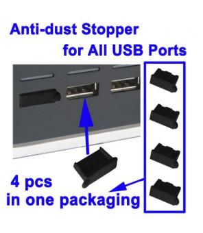 Anti-støv Stopper the Allé USB-porte (4 Stk I DA Emballage, prize is for 4 stk), Sort