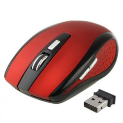2,4 GHz 800 ~ 1600 DPI Wireless Optical Mouse with USB Mini Receiver, Plug and Play, work afstand up to 10 meter (rød)