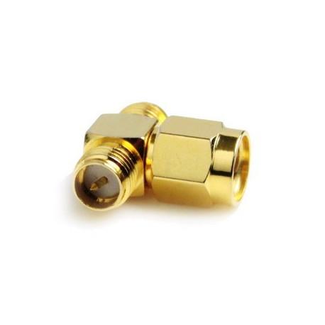 Image of   Adapter til RP-SMA hanstik til 2 RP-SMA hunstik (T-formet), forgyldt