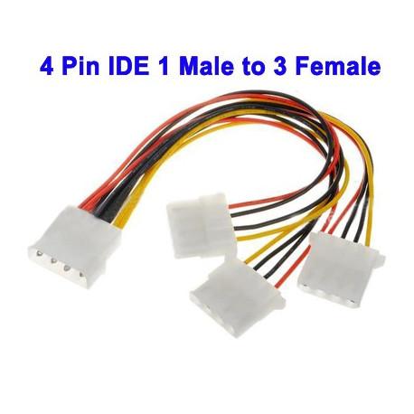 Image of   4-pin IDE 1 hanstik til 3 hunstik, strømfordelerkabel til 3,5 HDD DVD, Længde: 20 cm