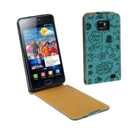 """Image of   Lædertaske til Samsung Galaxy SII / i9100 med """"vertical flip"""" åbning (""""Magic Girl""""-style, blå)"""