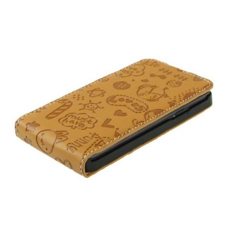 """Image of   Lædertaske til Samsung Galaxy SII / i9100 med """"vertical flip"""" åbning (""""Magic Girl""""-style, lys brun)"""