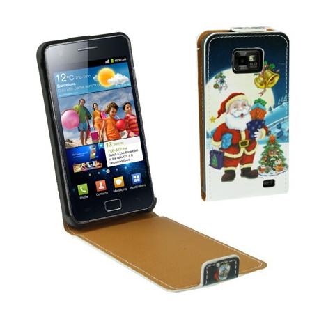 """Image of   Læder Taske til Samsung Galaxy SII / i9100 med """"vertical flip"""" åbning (Julemanden, mørk)"""
