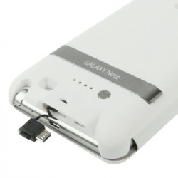 3000mAh Portable Power Bank Ekstern Batteri + Twill Texture Læder Taske with holder to Samsung Galaxy Note i9220 / N7000 (Whit
