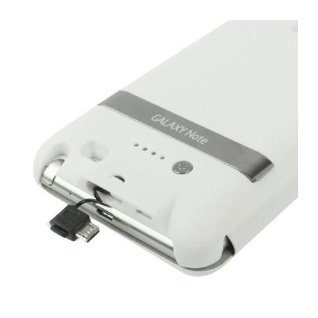 Image of   3000 mAh bærbart eksternt batteri og lædertaske med holder til Samsung Galaxy Note i9220 / N7000 (hvid)
