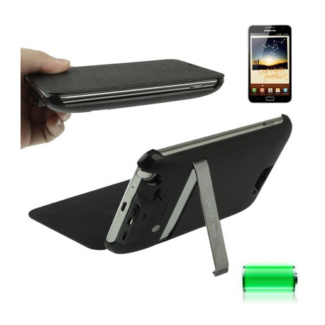 Image of   3000 mAh bærbart eksternt batteri og lædertaske med holder til Samsung Galaxy Note i9220 / N7000 (sort)