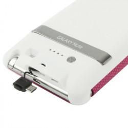 3000mAh Portable Power Bank Ekstern Batteri + Ball Texture Læder Taske with holder to Samsung Galaxy Note i9220 / N7000
