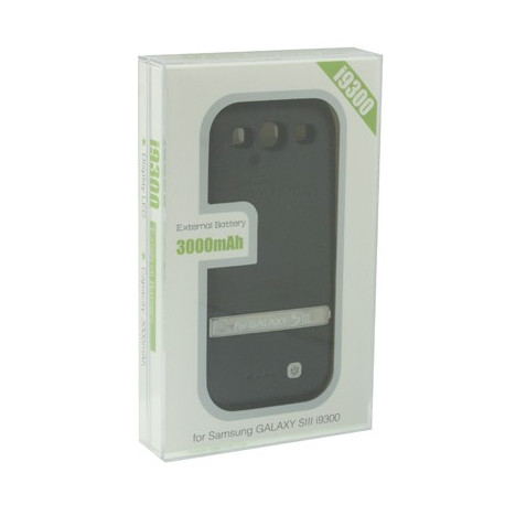 Image of   3000mAh Portable Power Bank Eksternt Batteri med holder til Samsung Galaxy S III / i9300 (Sort)