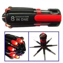 Smart 8-i-1 multi-skruetrækker med indbygget LED lygte