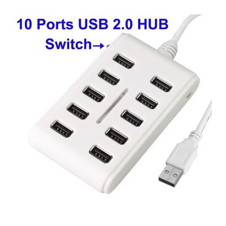 Image of   USB 2,0 HUB m. 10 porte, høj ydelse, sæt i og brug med det samme (hvid)