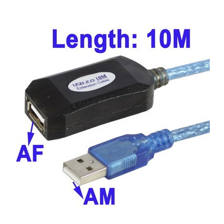 Image of   High Quality USB 2,0 AM til AF-forlængerkabel, Længde: 10m